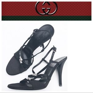 GUCCI black Heels 7 1/2 7.5 sandals euc